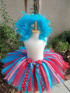 Dr. Seuss, Cat in The Hat-Thing 1, Thing 2 inspired deluxe tutu -custom sewn sizes baby-6x..Halloween, pageants, birthdays, gifts. $52.00, via Etsy.