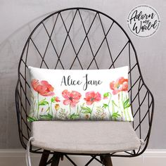 Floral Name Pillow, Poppy Pillow, Personalized Pillow, Custom Name Cushion, Floral Throw Pillow, Baby Girl Gift, Gift For Girl, Gift For Her