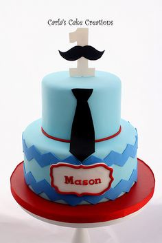 Mustache cake with a bow tie instead of neck tie