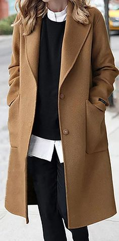 ClairSue Elegant Wintermantel Wollmantel Steppmantel Lose Lang Trenchcoat Dufflecoat V-Auschnitt Revers Winterparka Steppjacke Coat Outwear Herbstmantel Look Fashion, Winter Fashion, Girl Fashion, Fashion Outfits, Womens Fashion, Ladies Fashion, Fashion Ideas, Fashion Coat, Mode Outfits