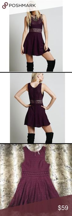 Free People Fitted With Daisy Dress in merlot Size 10. Textured fit-n-flare tank mini dress with daisy chain cutout detailing around waist. Zips up the back. Color is merlot. Cotton, nylon. EUC $128  Fast 1-2 day shipping Reasonable offers accepted Smoke-free home Free People Dresses