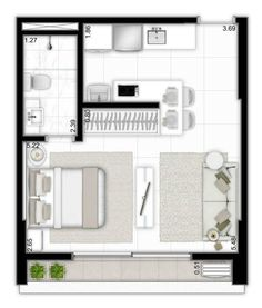 Architektur haus ,Grundrisse Wohnung Small Plan Studio Apt 33 Ideen The Garden As Healer Small Apartment Plans, Studio Apartment Floor Plans, Studio Apartment Layout, Studio Layout, Studio Apt, Apartment Design, Small Apartments, Small Studio, Small Apartment Layout