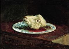 Viggo Johansen - Lamb's head on a plate, 1880