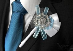 Etsy の Silver Buttonhole Wedding Buttonhole by BouquetsbyChloe