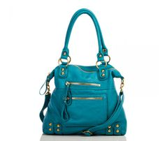 Turquoise - Handbag of washed Italian leather, so soft and a great look.