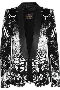 Roberto Cavalli Printed velvet tuexedo blazer | THE OUTNET