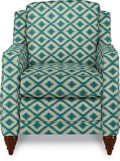I love this bold aqua ikat print on a chair! Can you believe it's a recliner? Dane Low Profile Recliner by La-Z-Boy #momcave