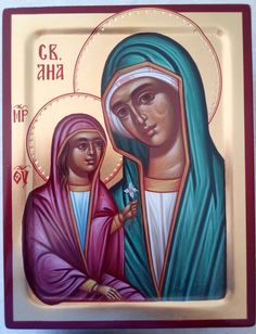 Holy Ana,Virgin Mary, Orthodox icon, 24k gold,Bogorodica,