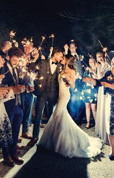 Sparkler exit! Dottie Photography #wedding #greenery #winter