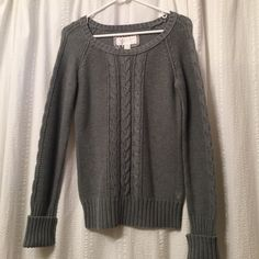 American Eagle gray sweater American eagle gray sweater. Size large. I believe this runs small. I usually wear small/med. Smoke free home, no trades please. Only worn a couple times. American Eagle Outfitters Sweaters