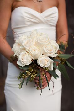 natural white rose bouquet.