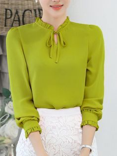 £: Tie Collar Ruffle Trim Keyhole Plain Blouse - Women's style: Patterns of sustainability Sheer Shirt, Chiffon Shirt, Blouse Styles, Blouse Designs, Bluse Outfit, Sleeves Designs For Dresses, Hijab Chic, Blouses For Women, Fashion Outfits