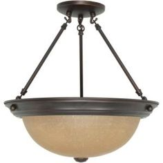 3 Light 15 in. Semi-Flush with Champagne Linen Washed Glass Finished in Mahogany Bronze-HD-1261 at The Home Depot
