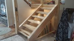 Timber stairs Timber Stair, Timber Frame Homes, Ladders, Garages, Home Bedroom, House Ideas, Stairs, Cottage, Cabin