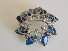 50s Blue Navette Rhinestone Silvertone Floral Brooch by JoysShop, $14.95