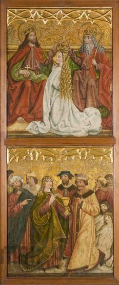 Koronacja Marii, Cud św. Jana Ewangelisty, Modlitwa w Ogrojcu, Dźwiganie krzyża. Skrzydło lewe z retabulum ołtarzowego z kościoła w Dobczycach, ok. 1490
