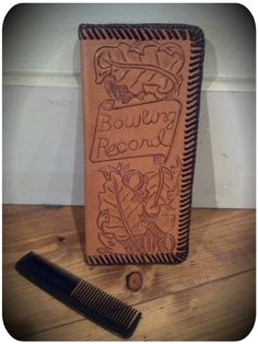 Bowling Score Keeper's Record Leather Tooled Wallet!    FOR SALE!!!  (Combs for sale, too, at Portland Flea-For-All!!!)