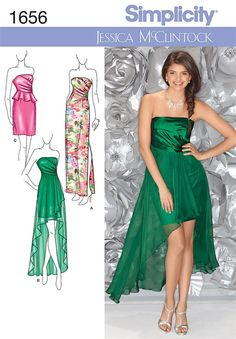 Simplicity - Misses Special Occasion Dress. I know this isn't like the one last night but you had mentioned liking the short to long look. Evening Dress Patterns, Wedding Dress Patterns, Robes D'occasion, Strapless Dress Formal, Formal Dresses, Dresses Dresses, Vogue, Ballroom Dress, Beautiful Prom Dresses