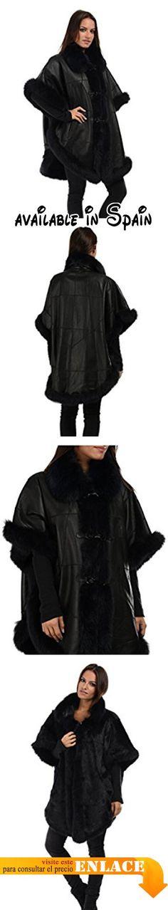 B01MTSRBOI : Intuitions Paris - Poncho PONSHAPE - Mujer - UNICO - Negro. Poncho reversible de piel de conejo con adorno de piel de zorro. Cuello solapa. Mangas cortas. Totalmente forrado con pieles. Cierre de botones