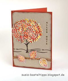 autumn tree card using Stampin Up Thoughtful Branches Limited bundle. Available only August 2016