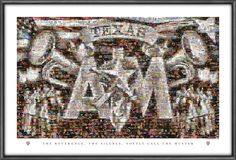 Texas A&M Aggies Mosaics Silver Taps. They are in standard frame size of 24″ x 36″. Frame not included.