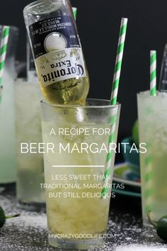 recipe for beer margaritas–they're the one thing my guests always hint about when coming to sit by the pool. Not too sweet, but crazy strong, these Corona margaritas pack a punch! Also called Bulldog Margaritas. Tequila, Beer Margaritas, Party Drinks, Cocktail Drinks, Alcoholic Drinks, Beverages, Best Margarita Recipe, Skinny Margarita, Cocktail Recipes