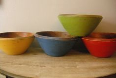 4 upcycled painted wooden bowls  primitive by MamaLisasCottage, $24.00