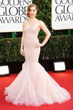 Amy Adams look positively stunning in this ballet pink gown! Hair-do is perfect.