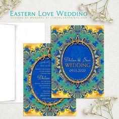 Glitter Gold & Blue Ganesha Indian Wedding Invitation