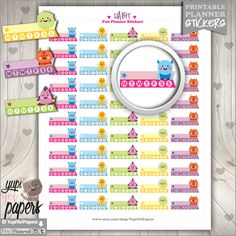 Habit Stickers, Planner Stickers, Planner Accesories, Weekly Stickers, Keep Track Stickers, Checkoff, Monster Stickers