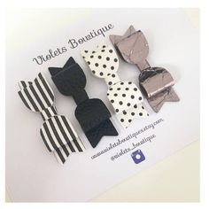 Gorgeous faux leather has been used to create these monochrome hair clip/band set. Each bow is approx 2.5 inches in length Lightweight, so they are perfect for even the smallest of wearers. Violets Bowtique hair accessories make excellent gifts for newborns, baby showers, and