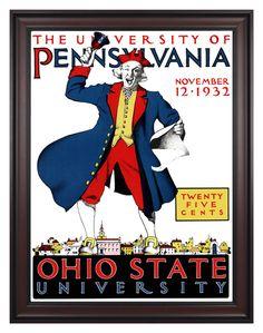 1932 Ohio State Buckeyes vs Penn Quakers 36x48 Framed Canvas Historic Football Poster