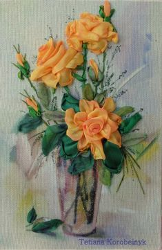 "*PICTURE ART ~ picture ""Roses"", Silk ribbon embroidery"