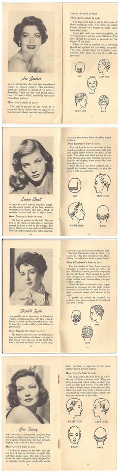 Authentic setting patterns of Ava Gardner, Lauren Bacall, Elizabeth Taylor, and Gene Tierney #hairinspiration