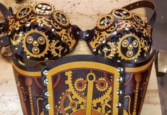 Hard Leather Clockwork Bra Made to order by BruteForceStudios