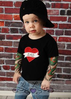 Black Tattoo Sleeve T shirt with Mom heart applique for Babies on Etsy
