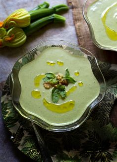 chilled zucchini, walnut and basil soup