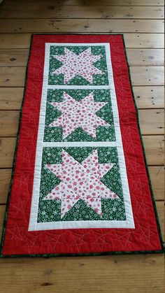 Christmas Quilted Table Runner Red Green White Table Runner