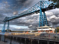 Discover Tees Transporter Bridge in Middlesbrough, England: Built in the Tees Transporter Bridge is one of only six transporter bridges still in operation. Middlesbrough England, Severe Weather, England Uk, British Isles, Bridges, Yorkshire, Places Ive Been, Britain, Cottage