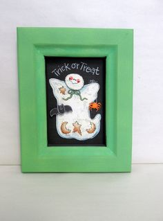 Halloween Trick or Treat Whimsical Ghost Framed in Reclaimed Hand Crafted Wood, Trick or Treat Sign, Halloween Ghost Sign, White Ghost - pinned by pin4etsy.com