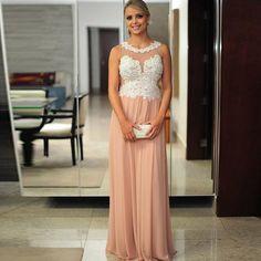 2015 Coral Colored Bridesmaid Dresses Long Chiffon Sheer Neck Bridesmaid Dress