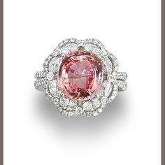 Bonhams 1793 : A padparadscha sapphire and diamond ring