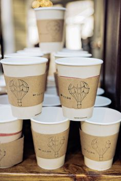 Coffee Bar with Hand-Stamped Coffee Cups | Southern Sophisication Designs | Little River Farms | Andie Freeman Photography