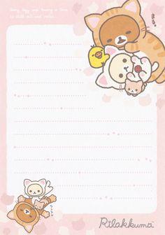 Printable Scrapbook Paper, Printable Paper, Memo Notepad, Note Memo, Cute Letters, Cute Stationary, Cute Notes, Planner, Rilakkuma