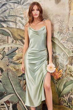 Green Satin Dress, Sage Green Dress, Satin Midi Dress, Satin Formal Dress, Satin Gown, Satin Slip, Draped Dress, Slip Dress Silk, Satin Short Dress