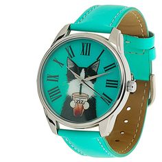 ZIZ Turquoise Cat Watch With Leather Band/ by ZIZAccessories