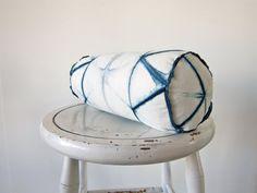 Bolster  Plant Dyed Shibori Indigo Pillow by GrahamKeegan on Etsy, $72.00