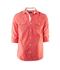 chambray button-down in orange-red