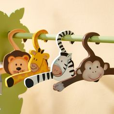 Fantasy Fields - Sunny Safari Thematic Kids Set of 4 Wooden Hangers Wood Projects, Woodworking Projects, Kids Hangers, Childrens Hangers, Clothes Hangers, Nursery Accessories, Wooden Hangers, Kids Wood, Coat Hanger