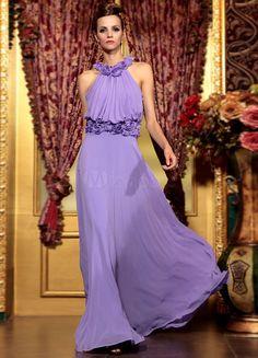 Vestido de noche de seda elástica de color lavanda con escote Halter sin mangas